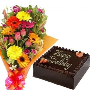 Square Cake With Mixed Flower Bunch
