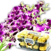 Purple Orchid Bouquet With Chocolate Box