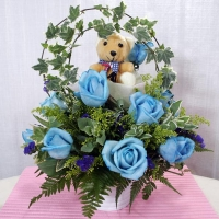 Blue Roses with a Bear