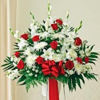 Funeral_Red & White Sympathy Standing Basket