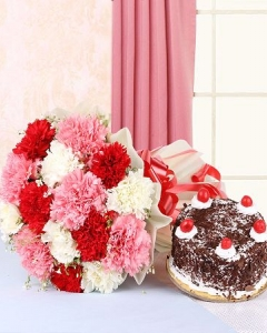 carnation with cake for MOM