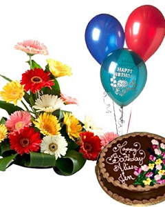 3 Balloons Chocolate Cake Mix Gerberas Basket