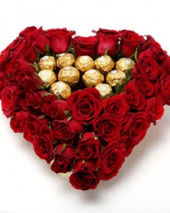 10 Ferrero and 24 red Roses Heart