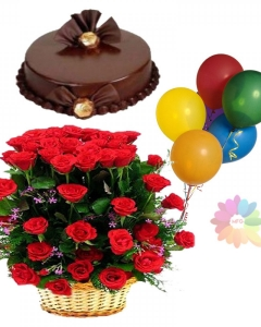 24 red roses basket& cake and 5 birthday balloons