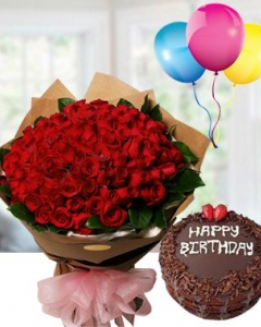 50 red rose bunch , chocolate cake & happy birthday ballons