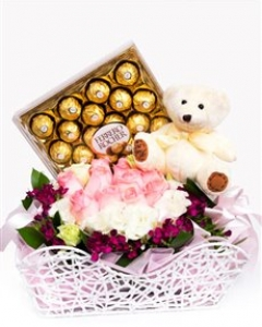 Pink Roses and Chocolate Basket!