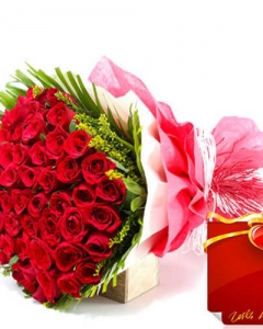 100 red rose w/i love you card