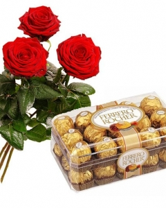 3 Holland roses w/30 ferrero box