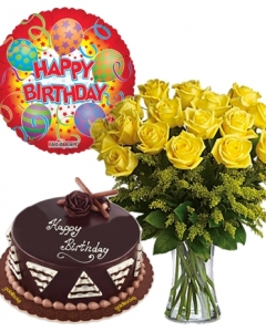 12 Yellow Orange Roses With Chocolate Cake And Balloon