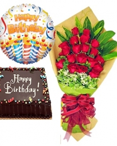 24 Red Roses with Triple Delight/chocolate Cake and Balloon