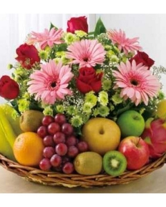Flowers and  8 items mix fruit basket