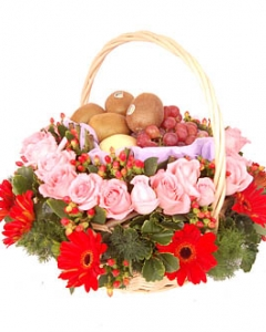 24 Pink roses. 10 gerbera & 6 items fruits