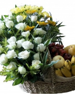 6 item Fruits and yellow Flowers & white roses