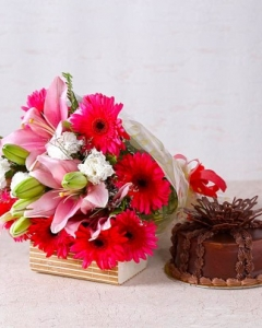 Pink Lilies and Gerberas  with Chocolate Cake