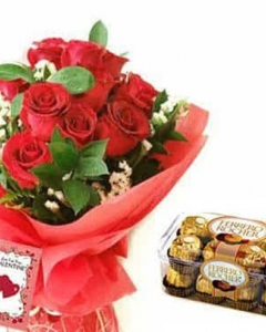12 holland red bouquet w/16 ferrero