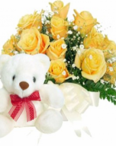 12 yellow roses w/ 2ft white teddy
