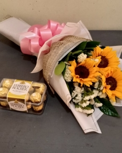 sunflower bouquet w/ferrero
