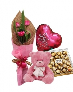 3 Pink Roses,Bear,Ferrero Rocher Chocolate with Balloon